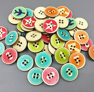 50X Retro Round Wooden Buttons Mixed Digital Fit Sewing scrapbooking crafts 20mm 2