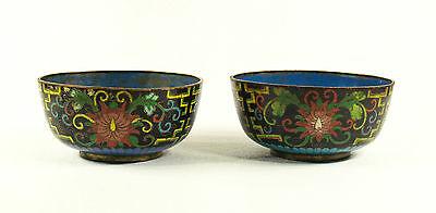 Antique  Chinese Cloisonne Enamel Round Metal Pair of Bowls