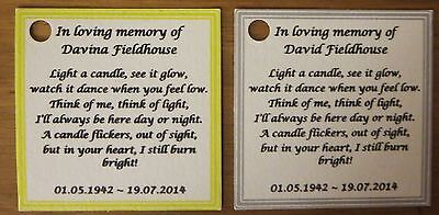 Funeral Personalised Remembrance & any occasion candle favours. Light in memory 8