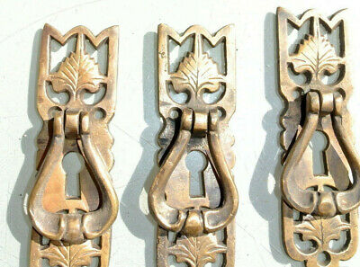 4 small old style pulls BRASS handles aged door old style drops knobs kitchen B 2