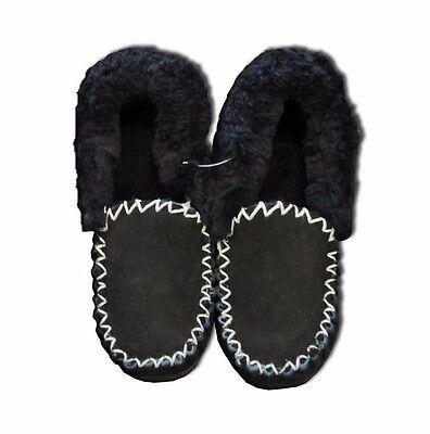 Genuine AUSTRALIAN SHEEPSKIN Moccasins Slippers BLACK 4- 3 Ugg Moccasin Mocassin