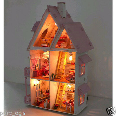DIY Handcraft Miniature Project Kit Wooden Dolls House My Pink Little House 3
