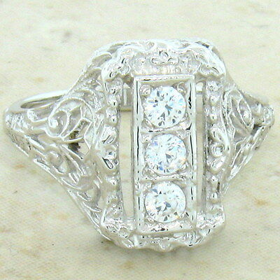 Art Deco Antique Style 925 Sterling Silver Cz Ring,                         #699 3
