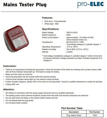 Socket Tester UK Mains 240V 13A 3 Pin Plug in Safety Check 13amp Polarity Earth
