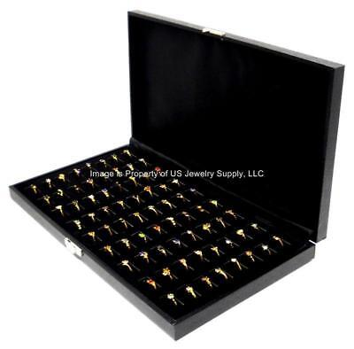 1 New Black Wide Slot 72 Ring Display Portable Sales Storage Boxes Cases