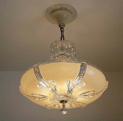 358 40's Vintage Antique Ceiling Light Lamp Fixture Glass Chandelier Re-Wired 3