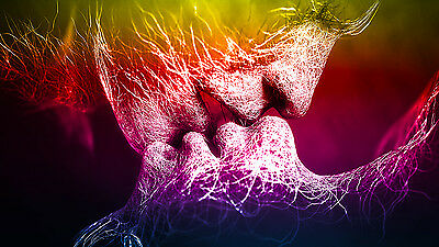 Mulit Coloured Love Kiss Abstract Art on CANVAS WALL ART Picture Print A4 A1 A2