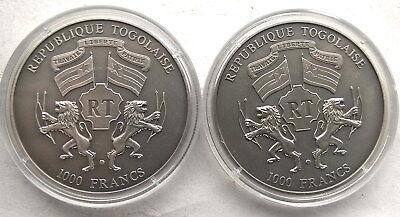 Togo 2004 Princess Equestrian 1000 Francs Set of 2 Silver Coins,BU 2