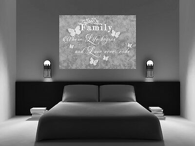 1 Of 3FREE Shipping FAMILY QUOTE   Life   Grey Canvas Wall Art Picture  Print  ALL SIZES