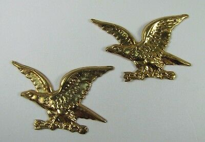 Old Pair Brass Figural Eagle Decorative Ornamental Hardware Adornments detailed 12