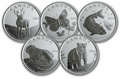 2019 Canada Wildlife Treasures 5 x 50 cent set - uncirculated and sealed 2