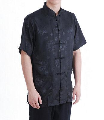 NUOVO Cinese Orientale Uomini Kung lino e cotone azzurro Top Maglietta Corta Cmssh 22