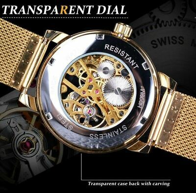 Men Skeleton Mechanical Wrist Watch Stainless Steel Luxury Steampunk Wristwatch 9