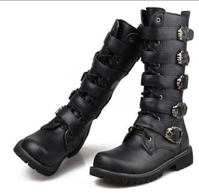 Mens Round toe Knee High Boots military Buckle goth zipper Combat Knight Shoes