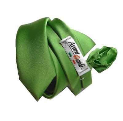 90afe381b9 ... Completo Verdino Cravatta E Pochette Verde Skinny Tie 6 Cravattino E  Fazzoletto 5