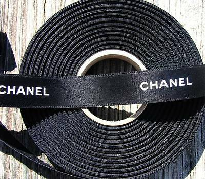 """100% Authentic Chanel Black White Lettering Ribbon 9/16"""" wide PBTY 2"""