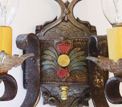 Pair Antique Arts & Crafts Wall Sconces Original Paint 3