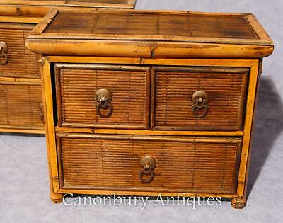 Pair Chinese Antique Bamboo Chest Drawers Mini Travelling Samples 1880 8