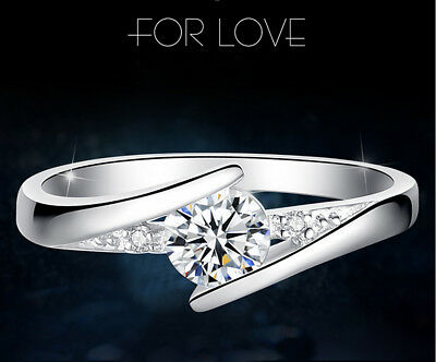 Classic 925 Silver Round Cut White Sapphire Engagement Ring Bridal Jewelry Gifts 7