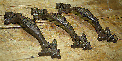 2 Large Cast Iron Antique Style FANCY Barn Handle Gate Pull Shed Door Handles #6 2