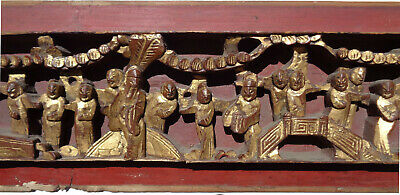Antique CHINESE figural HIGH RELIEF wood PANEL gold RED 25 inches 5