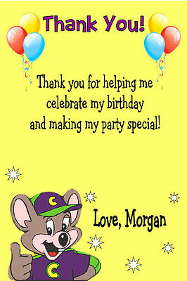 CHUCK E CHEESE Custom Birthday Party Invitation Free Thank You Card