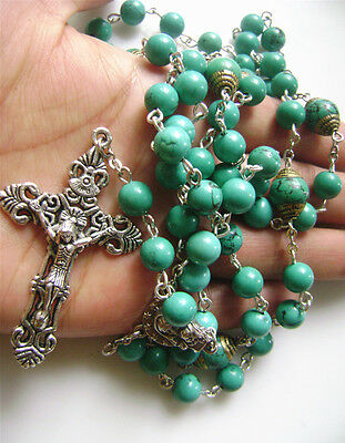RARE Precious Turquoise BEADS VINTAGE CRUCIFIX CATHOLIC NECKLACE ROSARY CROSS 2