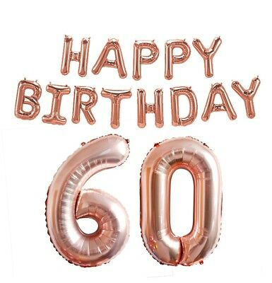 Rose Gold 16/18/21st/30/40/50/60th Foil Number Happy Birthday Balloon Decoration 8