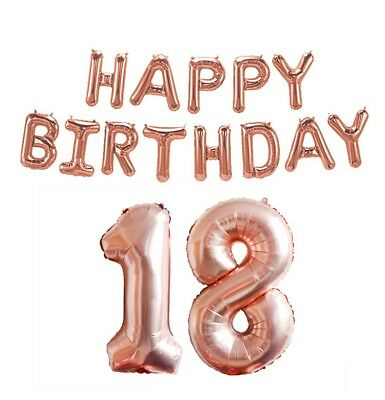 Rose Gold 16/18/21st/30/40/50/60th Foil Number Happy Birthday Balloon Decoration 3