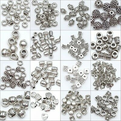 50/100pcs Wholesale  Silver Plated Loose Spacer Beads Charms Jewelry Making DIY 2