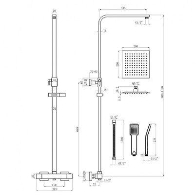 Orca Shower Square Thermostatic Bar Valve BLACK Adjustable Rigid Riser 2 Heads