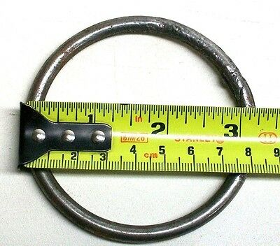 "[2] Nos 3"" Vintage Steel Tethering Horse Ring With Staple Meat Beam Game Hook Dm 5"