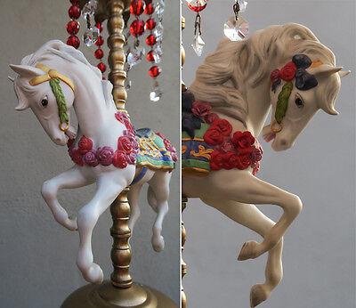 1 Porcelain Horse Carousel Lamp SWAG kids room Chandelier Vintage Crystal Rose 6