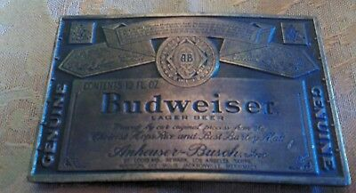 Budweiser belt buckle brass NEW vintage 1970 3