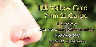 d1dcc5f48 ... 10k Solid Yellow Gold Nose Ring/Hoop Earring 18 Gauge 7mm Inner  Diameter 3