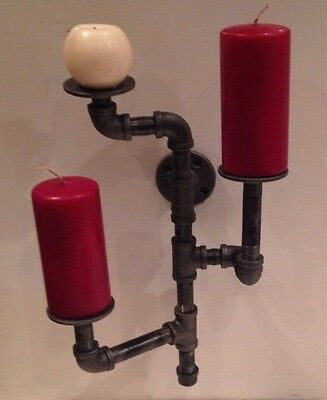 Industrial pipe 3 candle holder sconce 4