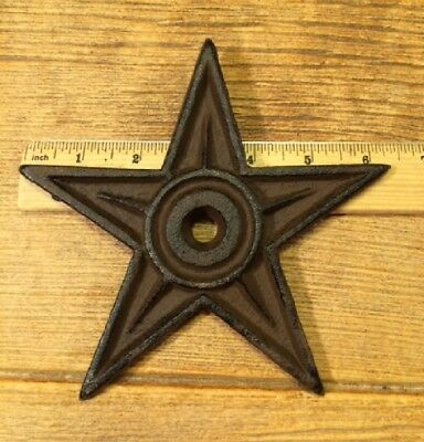 "Cast Iron Center Hole Star Anchor Plates Rustic Large 6 1/2"" wide 0170-02106 10"