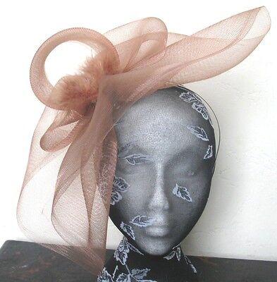 brown tan feather fascinator millinery burlesque headband wedding hat hair piece 2
