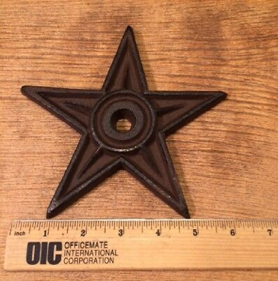 "Cast Iron Center Hole Star Anchor Plates Rustic Large 6 1/2"" wide 0170-02106 11"