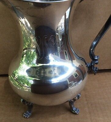 VINTAGE THE SHEFFIELD SILVER CO  FOOTED WATER PITCHER w/ ICE LIP ENGRAVED MONO 3