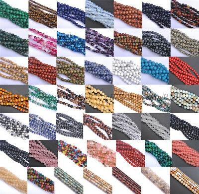Natural Gemstone Round Spacer Loose Beads 4mm 6mm 8mm 10mm 12mm Assorted Stones 9