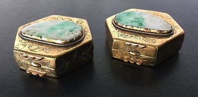 Two Chinese Pill Boxes with Jadeite 4
