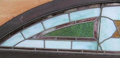 """Antique Judaic Stained Glass Transom Window In Frame - 80"""" Long 8"""