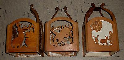 Lampe Holzlampe Deckenlampe Jagdmotive Hirsch Auerhahn Wildschwein Gemse 4
