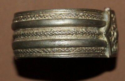 Antique Greek folk silver hinged cuff bracelet 4