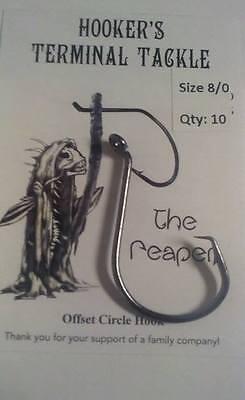NEW HTT Reaper Offset OCTOPUS CIRCLE HOOKS BLACK NICKEL Catfish//Striper Fishing