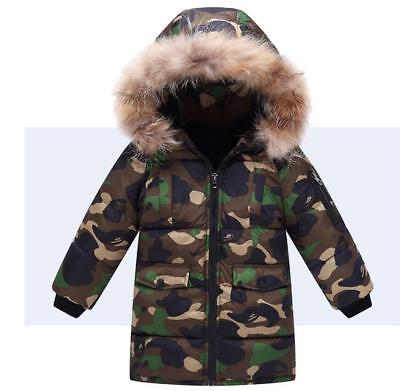 Boys Kids Camouflage Warm Winter Cotton Padded Long Parka Jacket Fur Hooded Coat