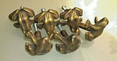 6 old look FROG handles aged solid Brass PULL knobs kitchens antiques 36mm B 2