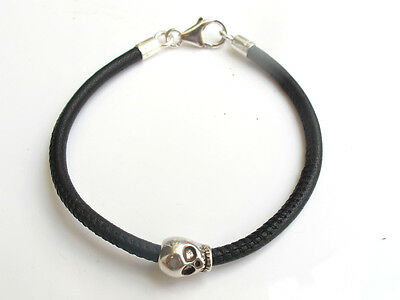 Skull sterling silver black leather bracelet bike bangle sterling bead men cuff 6