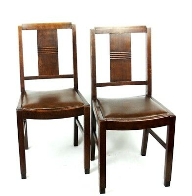 Art Deco pair of Oak Wood Dining Chairs | Patina - PRICE IS FOR PAIR [PL2033B] 2